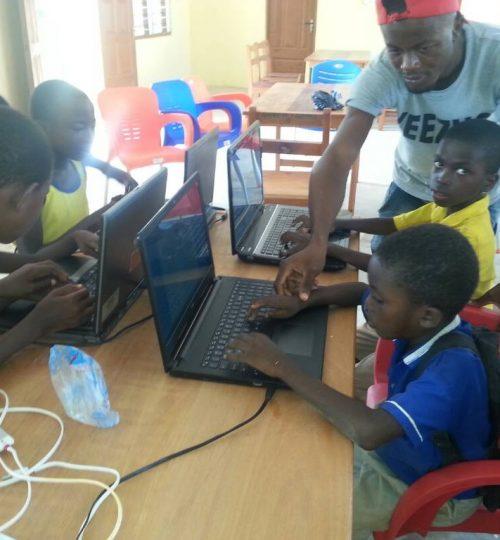 Children work after school.
